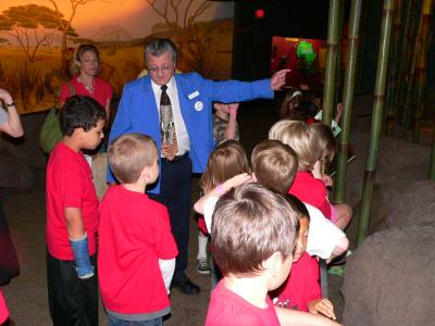 tour docent with group of kids