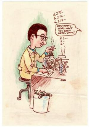 cartoon of man counting fish