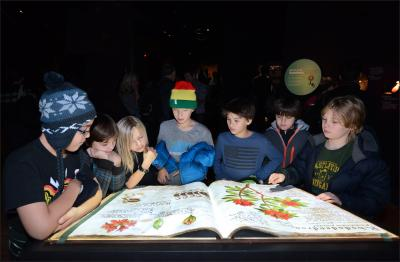 kids reading giant book