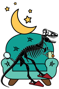 dinosaur on chair with mug and moon