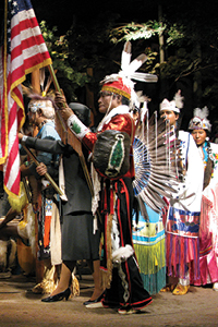 native americans with flag