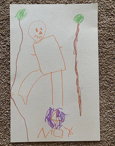 drawing of person among trees